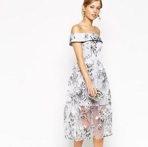 ASOS off shoulder midi dress in Organza